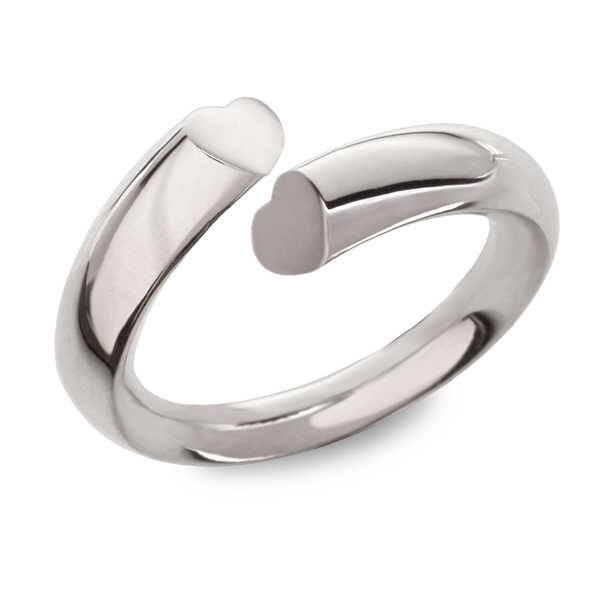 Side heart section silver ring