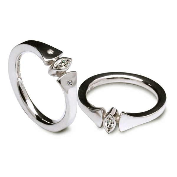 Diamond marquise rings in silver