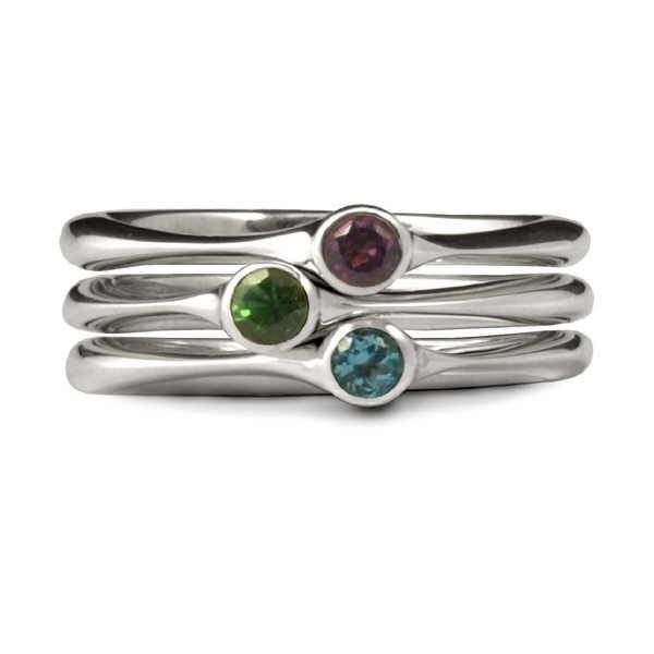 Gem set stacking rings