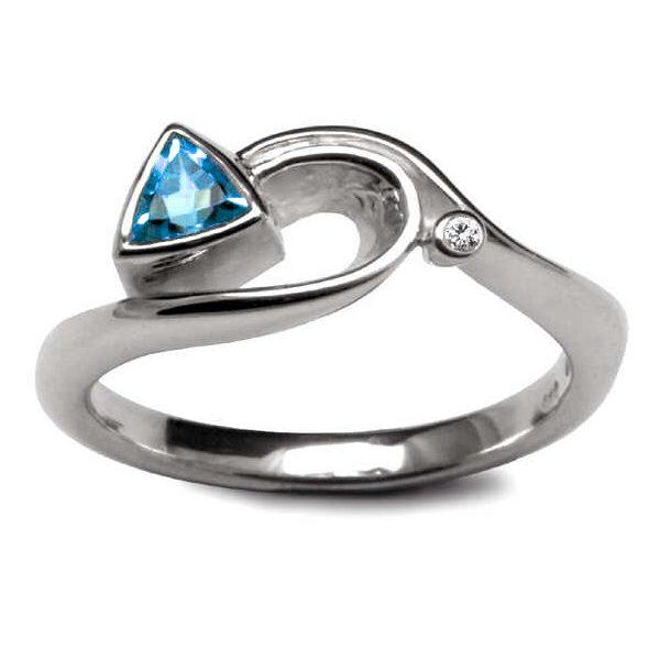 Silver trillion set diamond ring