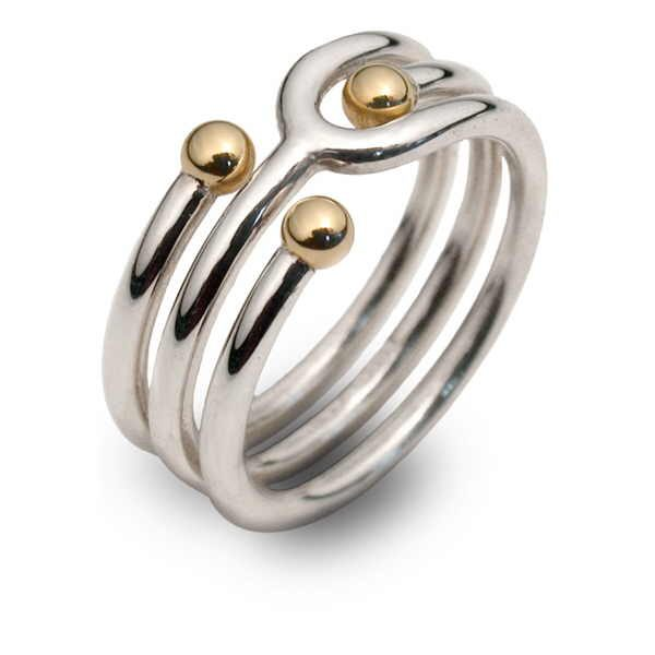 Unusual three gold bead ring