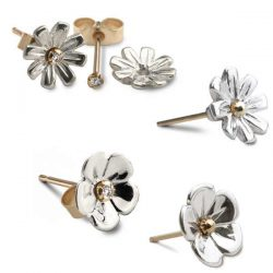 Silver and gold flower earrings with diamonds
