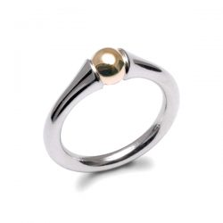 smooth silver and gold bead ring