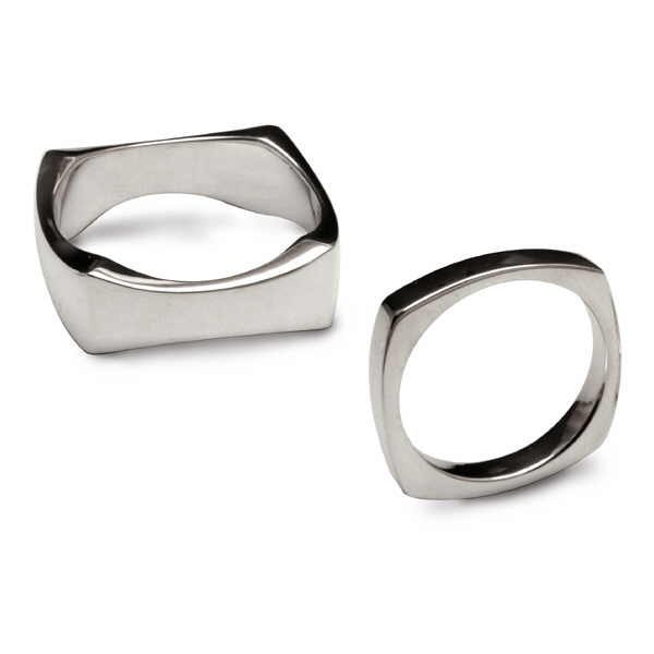 Square silver rings