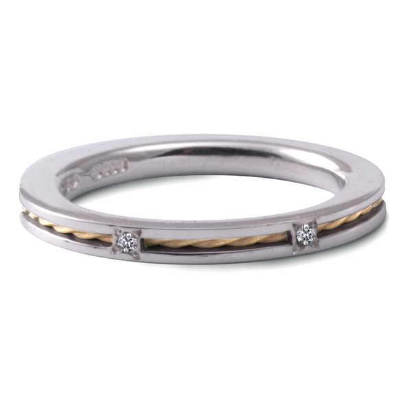 Stacking ring with gold twist and diamond