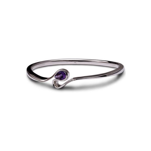 swerve bangle with amethyst pear an diamonds