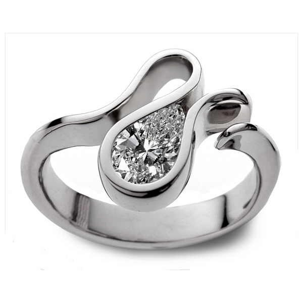 White gold Telesto ring with pear shaped diamond