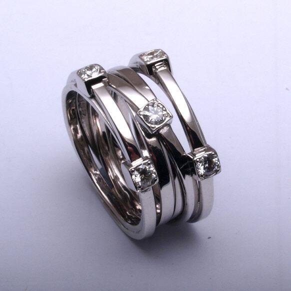 Diamond strands white gold ring