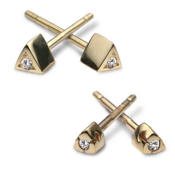 Gold diamond tri-stud earrings