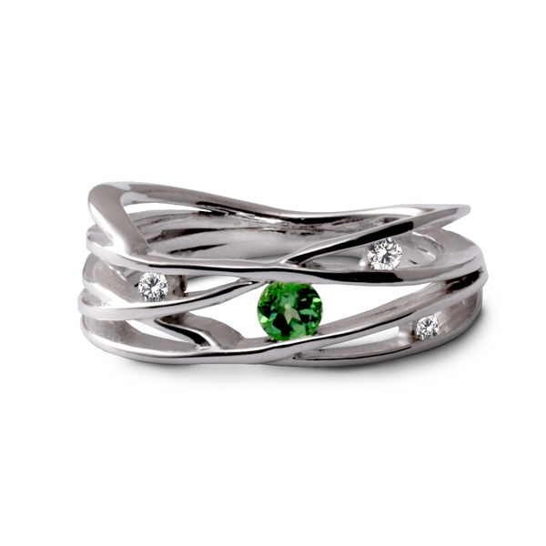 Tsavorite strands ring