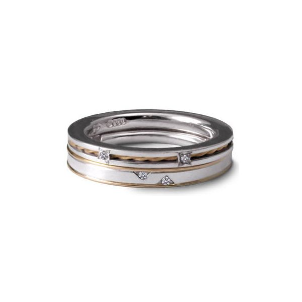 Silver gold and diamond stacking rings