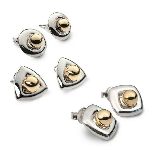 Interchange earrings in silver with separate gold studs