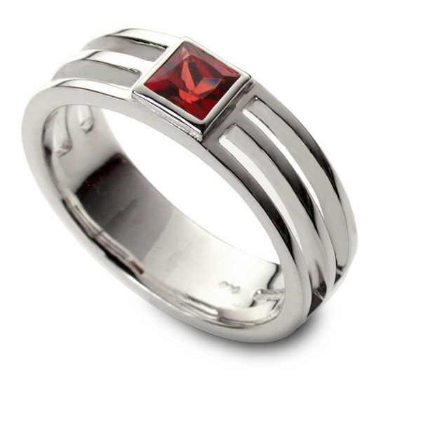 banded gem set ring