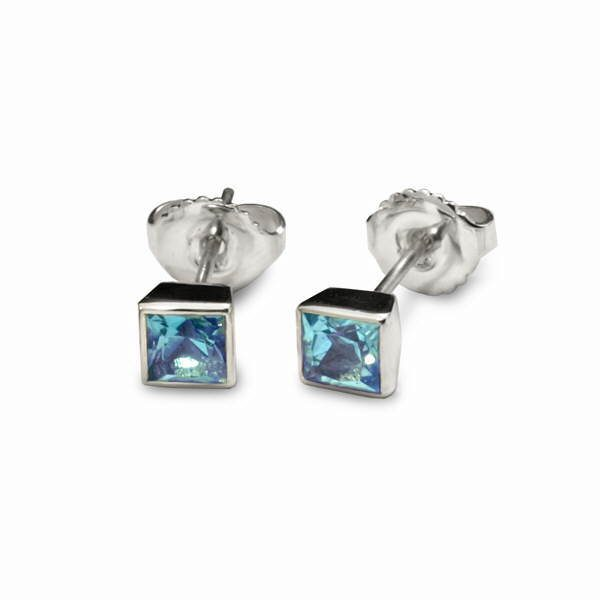 Square gem set silver studs