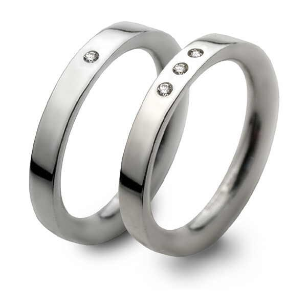 Simple silver and diamond rings