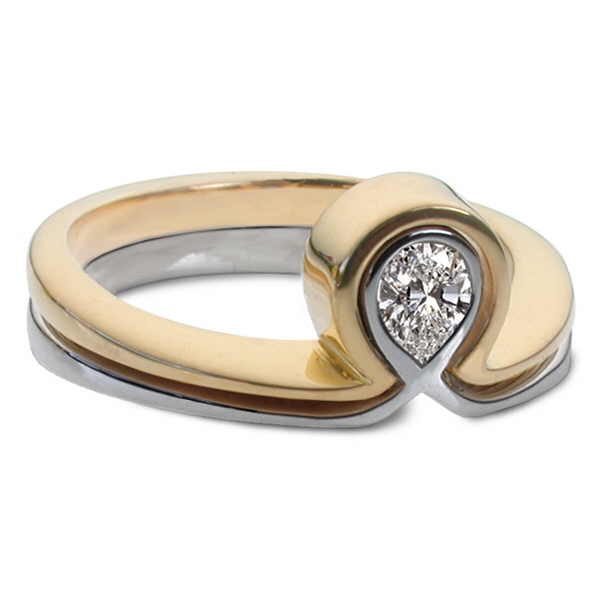 Alpha and Omega rings in gold with pear diamond
