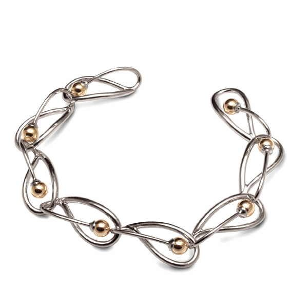 Loops bracelet in silver and gold