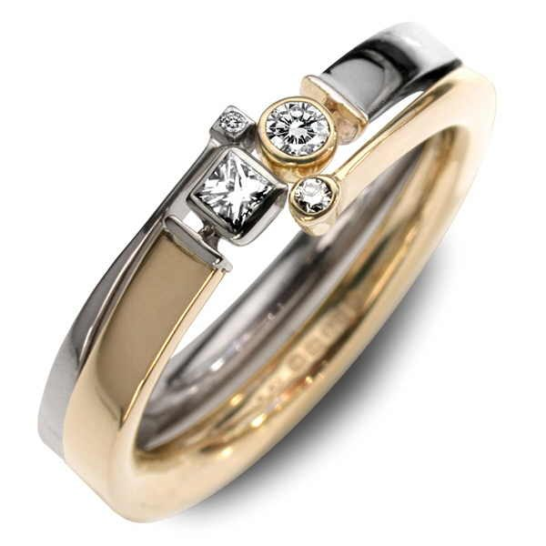 Titan and Hyperion gold and diamond ring set