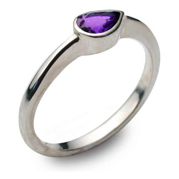 pear gem ring-amethyst