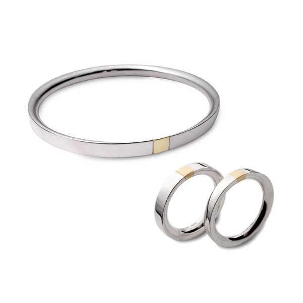 Gold stripe set ring and bangle