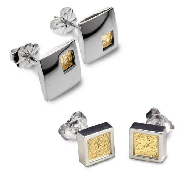 Square studs in silver and 18ct