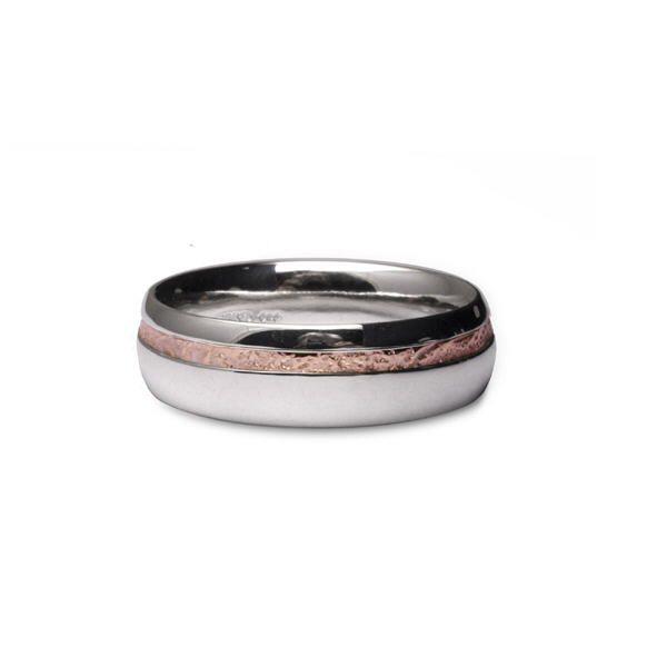 palladium and rose gold ring