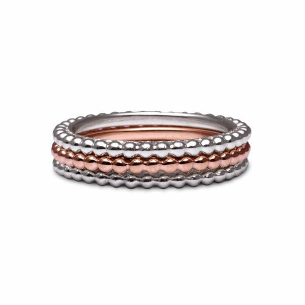 Beaded stacking rings in silver and gold