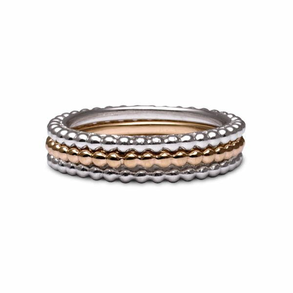 silver and gold bead rings