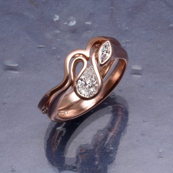 Calypso ring with wedding band in rose gold