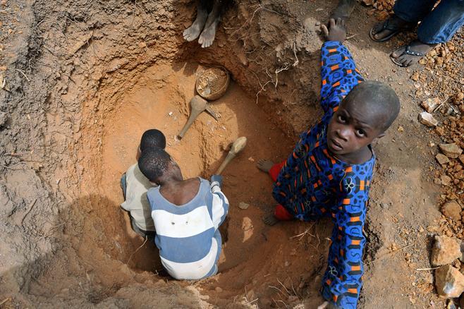 Child gold miner