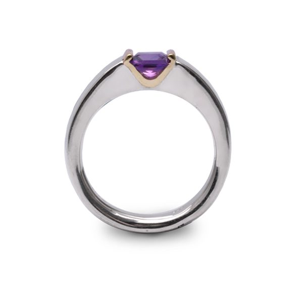 Side view of princess amethyst ring