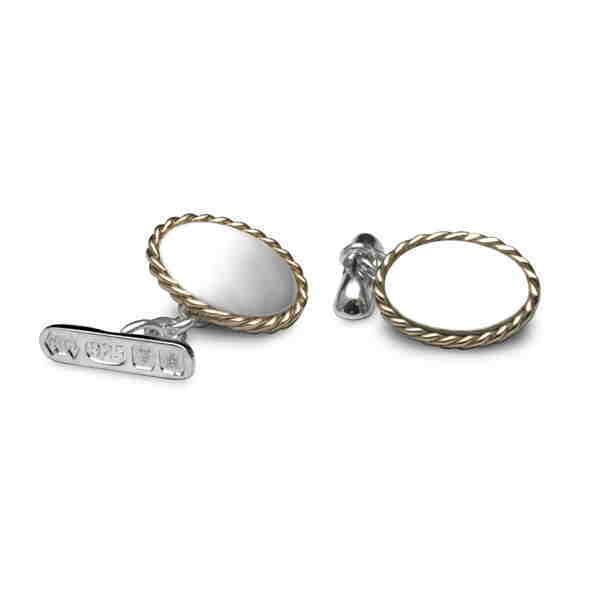 Silver and gold rib rimmed cufflinks