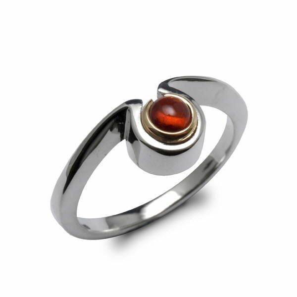 Silver and gold omega ring set iwith garnet