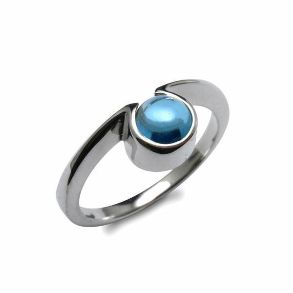 Silver omega ring set with blue topaz cabochon
