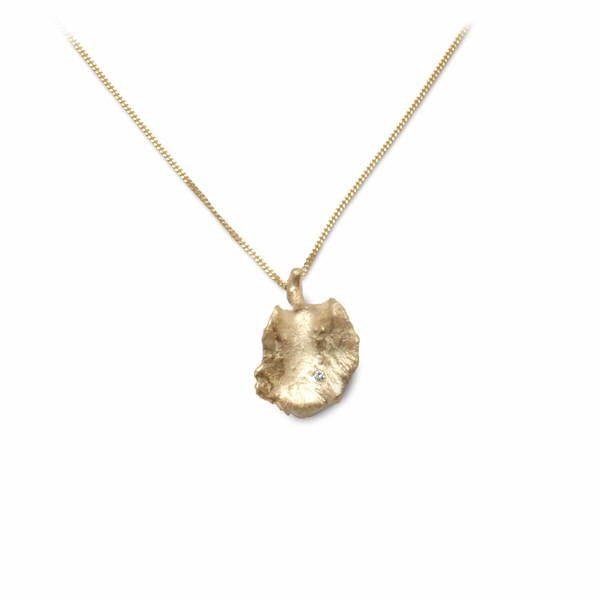 18ct gold and diamond leaf pendant