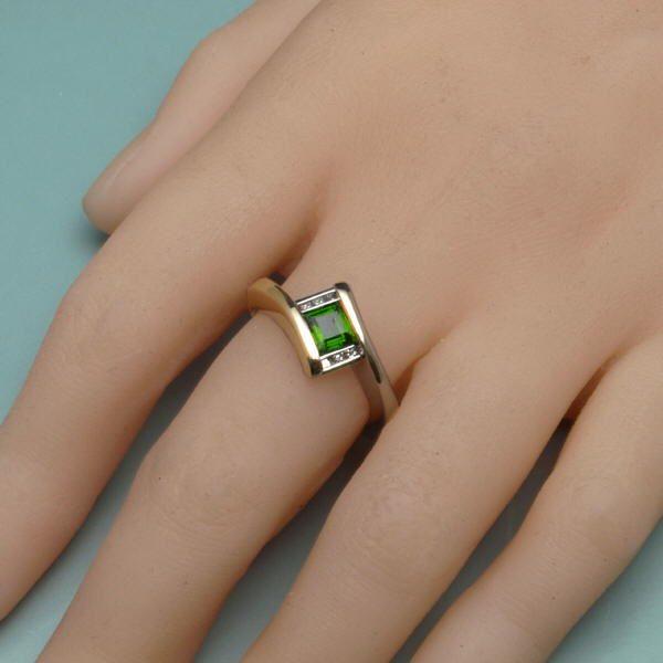Tourmaline deco ring on hand