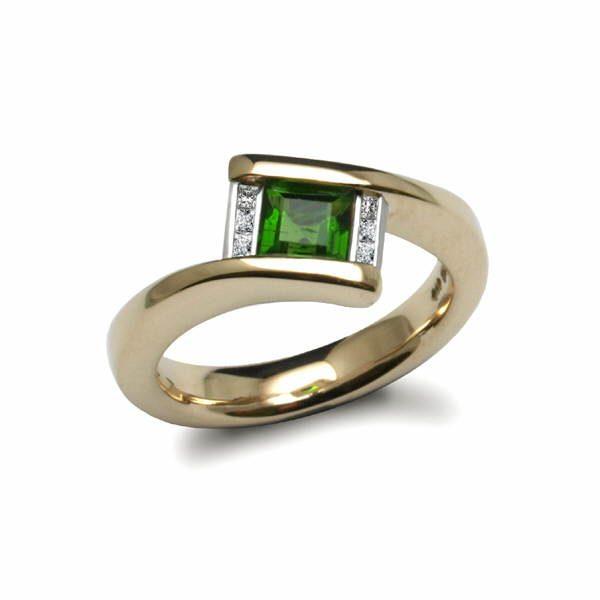 tourmaline and diamond deco ring