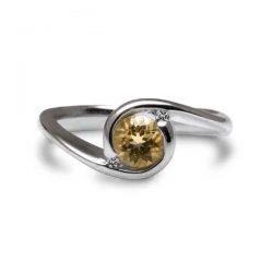 Orbit ring with citrine and diamonds