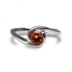 Orbit ring with garnet and diamonds