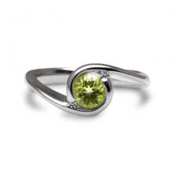Orbit ring with peridot and diamonds