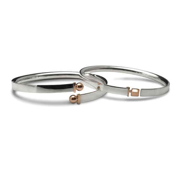 Silver and rose gold bangles