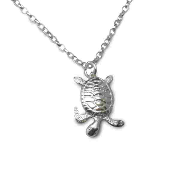 Silver baby turtle necklace