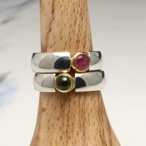 Gold and silver cabochon rings